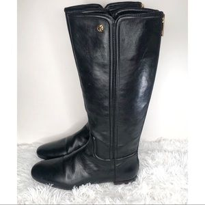 Tory Burch Black Leather Riding Boots Gold Logo 9